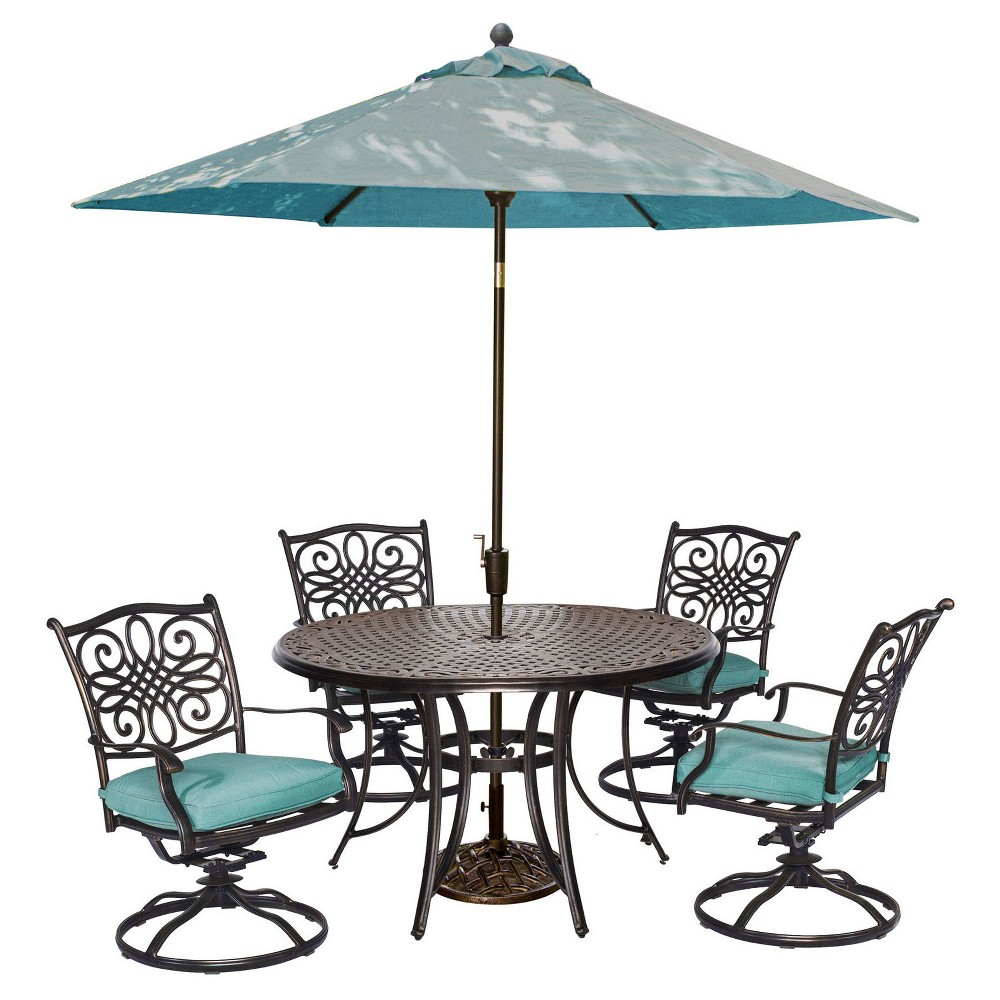 Traditions 6pc Round Metal Patio Dining Set with Swivel Rockers, Umbrella & Stand - Blue - Hanover