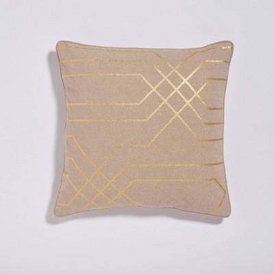 "18""x18"" Roadway Printed Metallic Throw Pillow Taupe - Sure Fit"