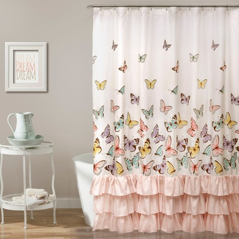 Flutter Butterfly Shower Curtain Pink - Lush Decor - image 1 of 4