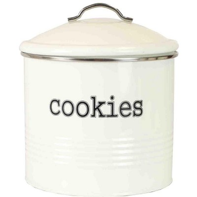 Home Basics Tin Cookie Jar, Ivory