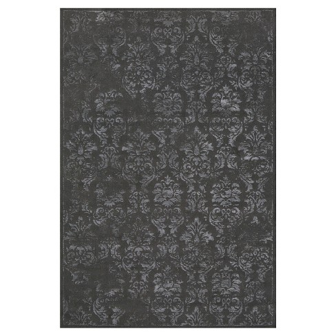 5'X8' Damask Woven Area Rugs Dark Gray - Room Envy - image 1 of 3