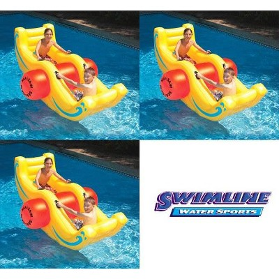 3) Swimline 9058 Swimming Pool Inflatable Sea-Saw Rocker See-Saw Float Lounges