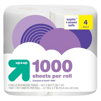 Septic + Sewer Safe Toilet Paper- 4 Rolls - Up&Up™ (Compare to Scott® 1000)