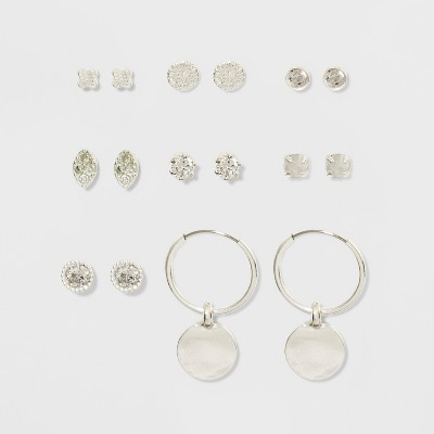 Cubic Zirconia Studs and Hoop Multi Earring Set 8pc - A New Day™ Silver