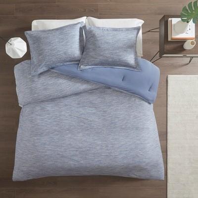 Full/Queen 3pc Spacedye Cotton Jersey Comforter Set Blue