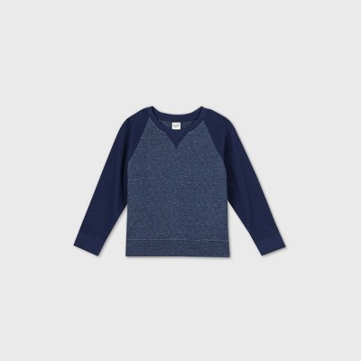OshKosh B'gosh Toddler Boys' Quilted Crew Neck Pullover Sweatshirt - Heather Navy