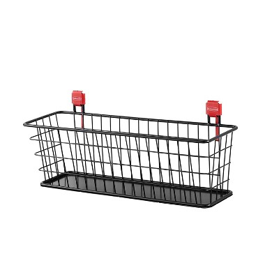 Rubbermaid Wall Mounted Storage Shed Space Saving Small Heavy Duty Wire Basket Accessory/Tool Storage Organizer