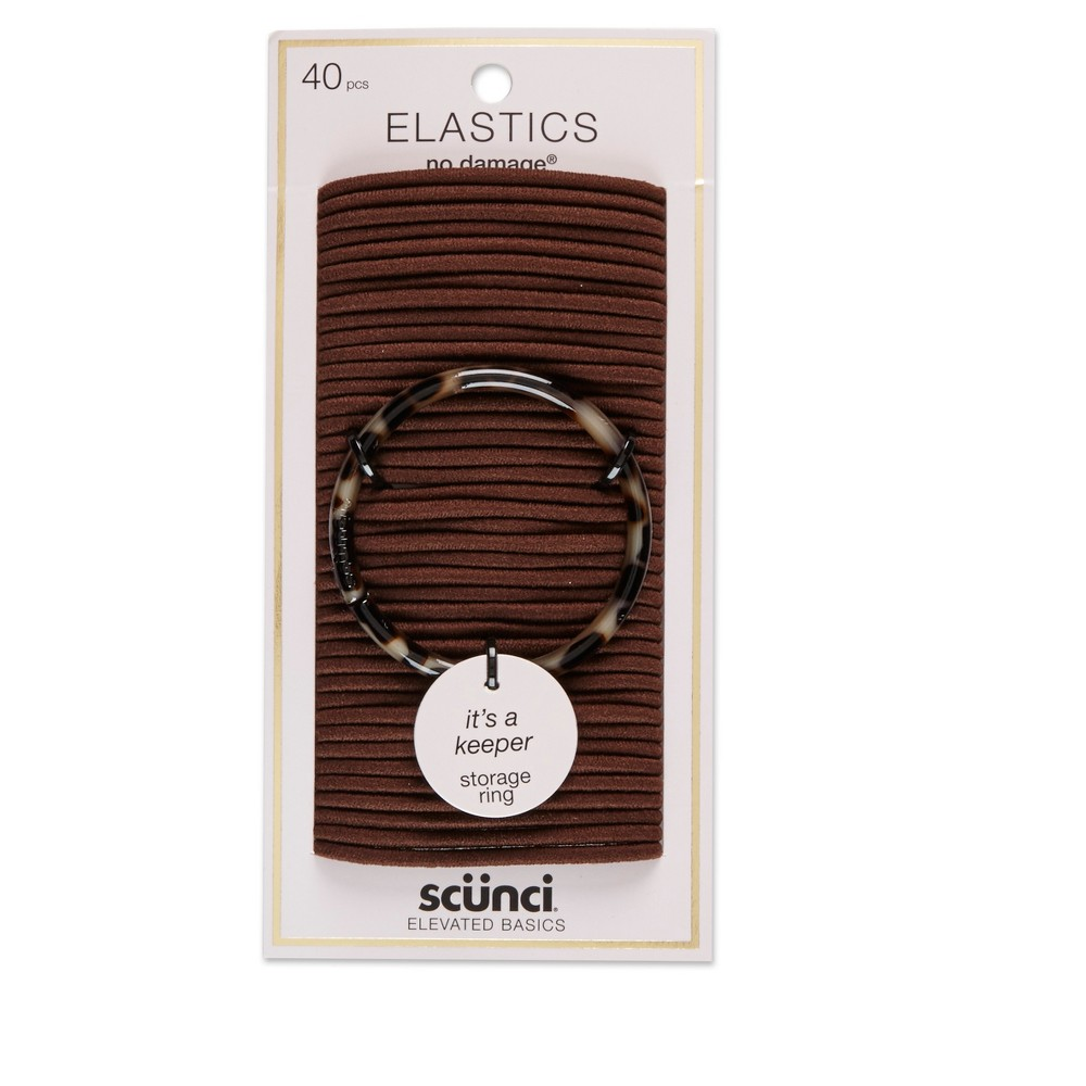 Scunci 4mm No Damage Elastics with Bonus Ring Holder Brown - 40pc