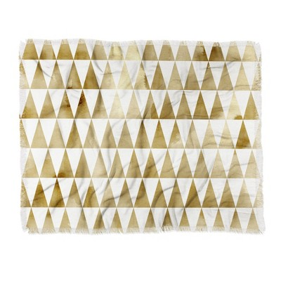 60 X50  Georgiana Paraschiv Triangle Pattern Throw Blanket Light Gold - Deny Designs