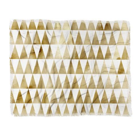 "60""X50"" Georgiana Paraschiv Triangle Pattern Throw Blanket Light Gold - Deny Designs - image 1 of 2"