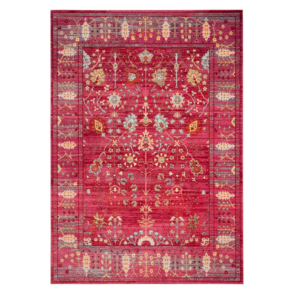 9'X12' Floral Loomed Area Rug Fuchsia - Safavieh, Pink/Multi-Colored