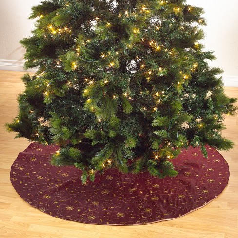 Saro Lifestyle Embroidered Holiday Tree Skirt With Sequined Design - image 1 of 3