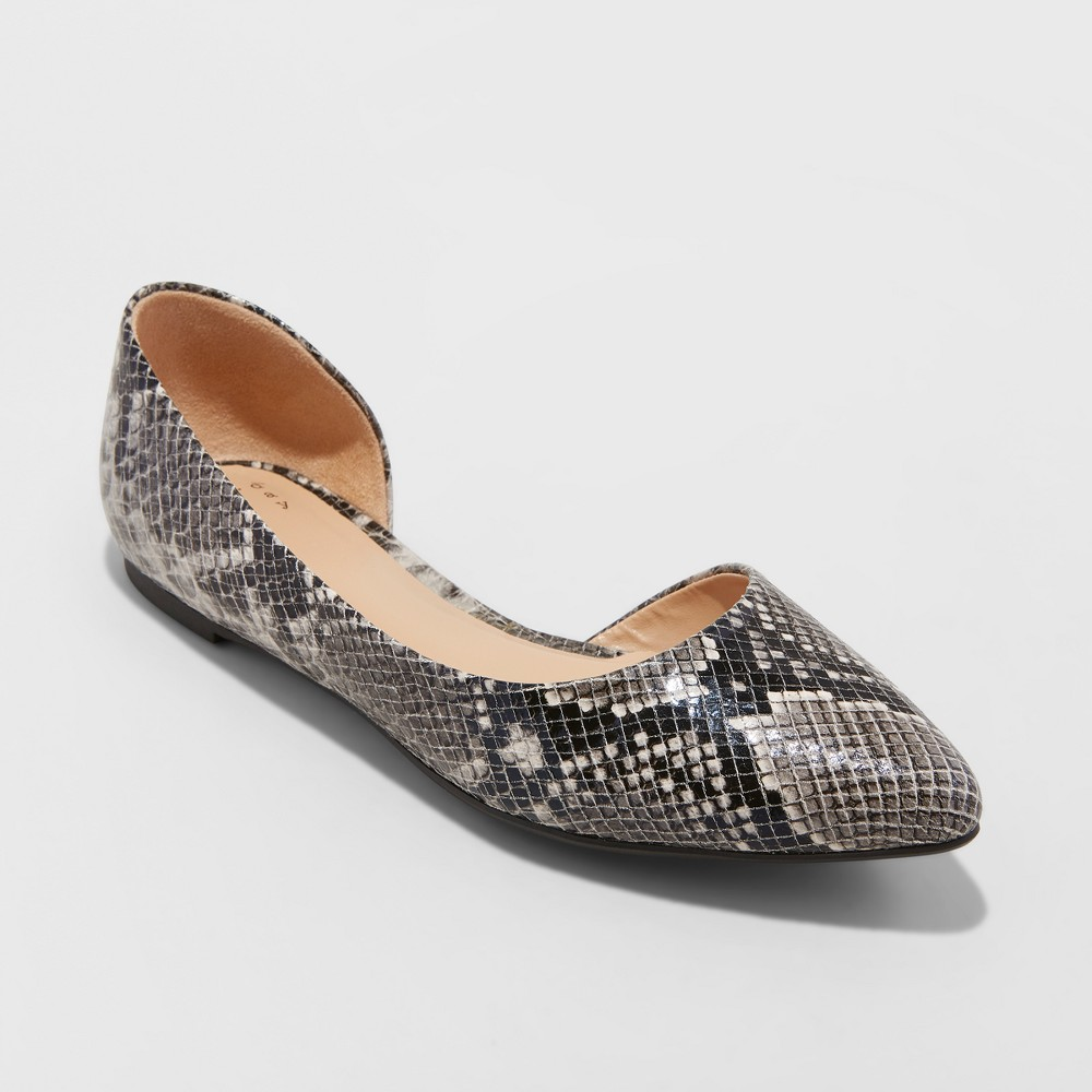 Women's Mohana D'orsay Snake Print Pointed Toe Ballet Flats - A New Day Gray 7.5