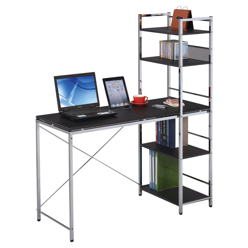 Keep all your essentials within easy reach as you work with the Black Computer Desk with Shelves from Acme Furniture. The spacious tabletop gives you room for a computer or notebook, and the four attached shelves can be installed on the left or right to suit your preference. You\\\'ll have plenty of space for books, decor and any accessories you need for your work.