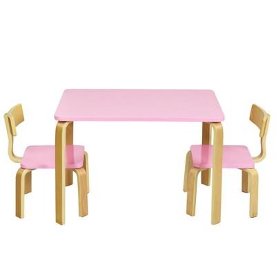 Costway 3 Piece Kids Wooden Table and 2 Chairs Set Children Activity Art Desk Furniture/Activity Art Desk Furniture