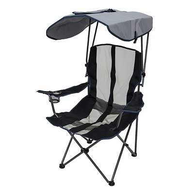Kelsyus 6038852 Original Outdoor Camping Folding Lawn Chair with Canopy and Cupholder, Navy & Gray