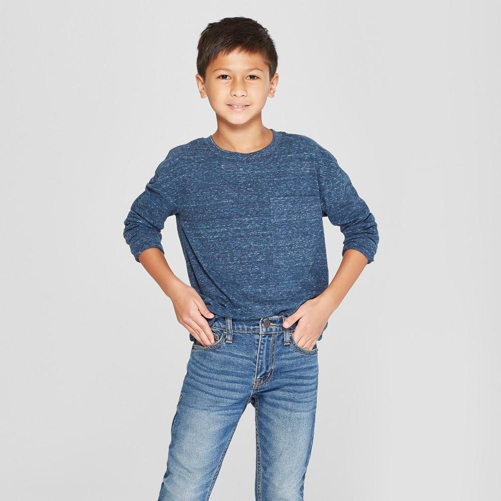 Boys' Long Sleeve Heathered T-Shirt - Cat & Jack Navy (Blue) Xxl