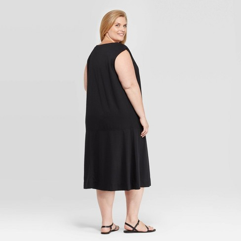 Women\'s Plus Size Sleeveless Scoop Neck Midi Dress - Prologue™ Black