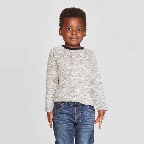 Toddler Boys' Brushed Jersey Knit Long Sleeve T-Shirt - Cat & Jack™ Gray - image 1 of 3