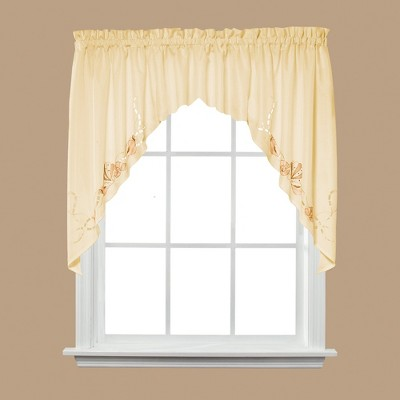 """Saturday Knight Ltd Seabreeze Linen Textured Window Swag - 57x36"""" Sand"""