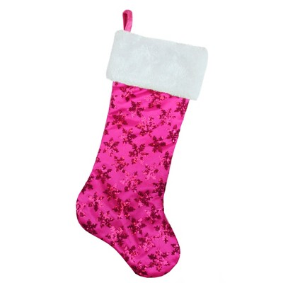 """Northlight 20.5"""" Pink Sequin Snowflake Christmas Stocking with Faux Fur Cuff"""