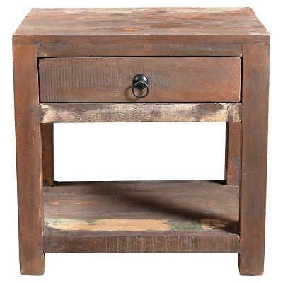 Reclaimed Wood Side Table And Drawer   (23H X 18W X 18D)   Natural    Timbergirl : Target