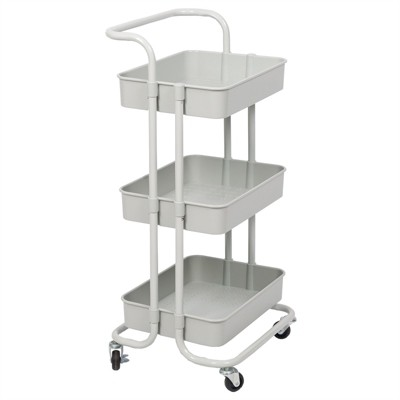 3 Tier Mobile Storage Caddy in Silver Gray - Pemberly Row