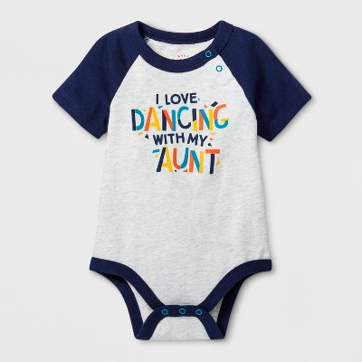 Baby Boys'  I Love Dancing with My Aunt  Short Sleeve Bodysuit - Cat & Jack™ Gray 3-6M