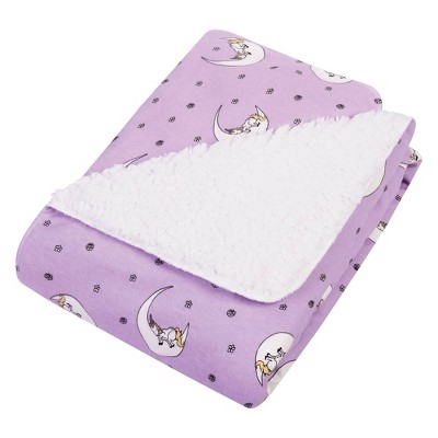 Trend Lab Flannel and Faux Shearling Baby Blanket -Purple