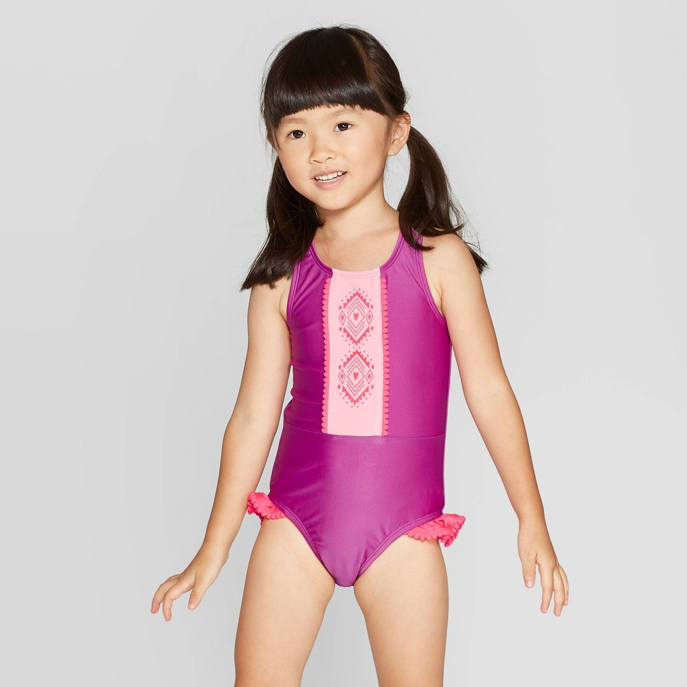 Image of Toddler Girls' High Neck One Piece Swimsuit - Cat & Jack Purple 2T, Girl's