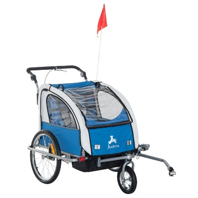 Aosom Elite 360 Swivel 2-In-1 Double Child Two-Wheel Bike Trailer And Jogger with Suspension