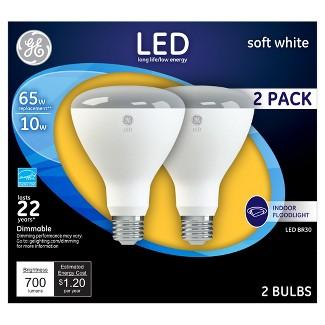 GE® LED 65-Watt BR30 Light Bulb Soft White 2pk