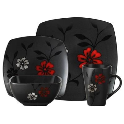 Gibson Elite 16pc Stoneware Evening Blossom Dinnerware Set