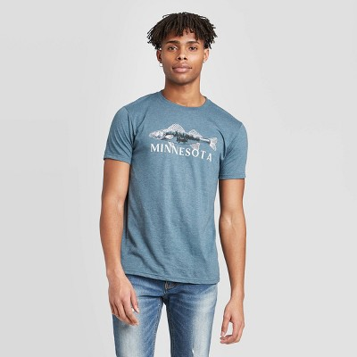 Men's Short Sleeve Minnesota Walleye Graphic T-Shirt - Awake Navy