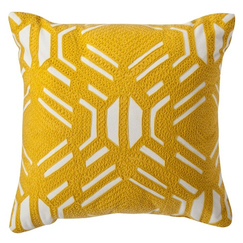 Yellow Patterned Decorative Throw Pillow 16 X16 Room Essentials