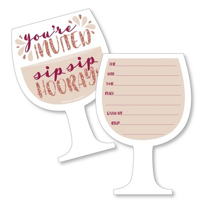 Big Dot of Happiness But First, Wine - Shaped Fill-in Invitations - Wine Tasting Party Invitation Cards with Envelopes - Set of 12