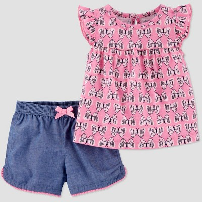 Baby Girls' 2pc Butterfly Top & Bottom Set - Just One You® made by carter's Pink 12M