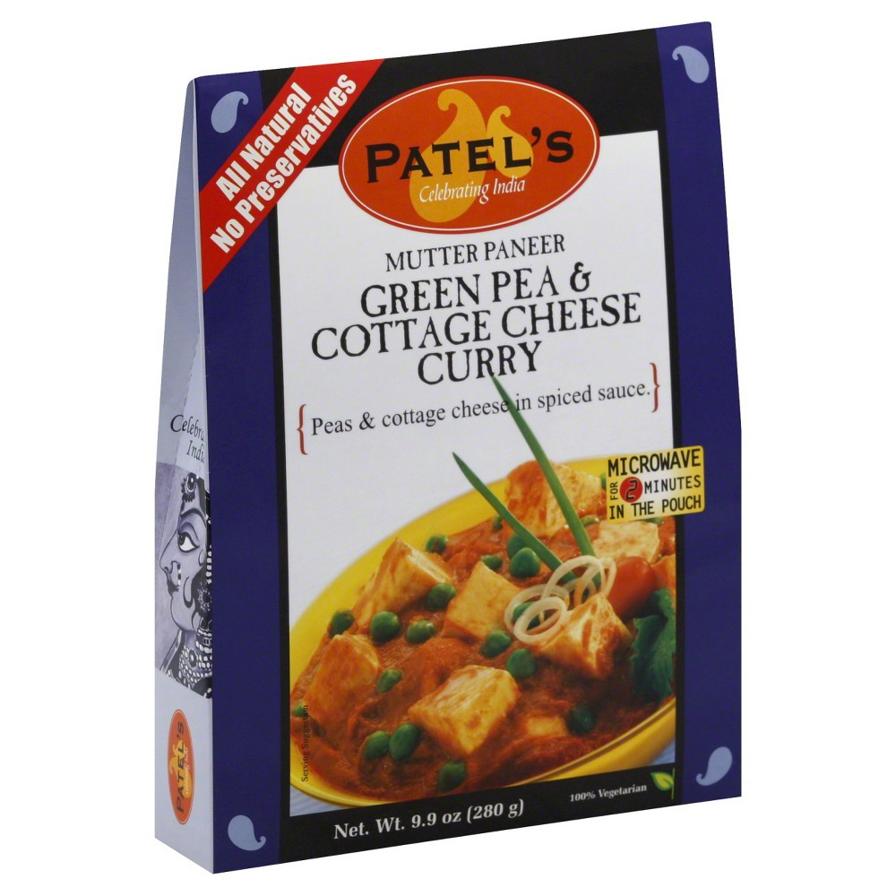 Patel's Mutter Paneer Green Pea and Cottage Cheese Curry 9.9 oz 10 pack