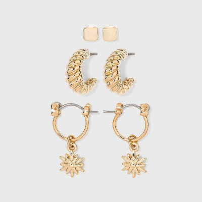 Huggie and Twisted Hoop with Stud Trio Earrings - A New Day™ Gold