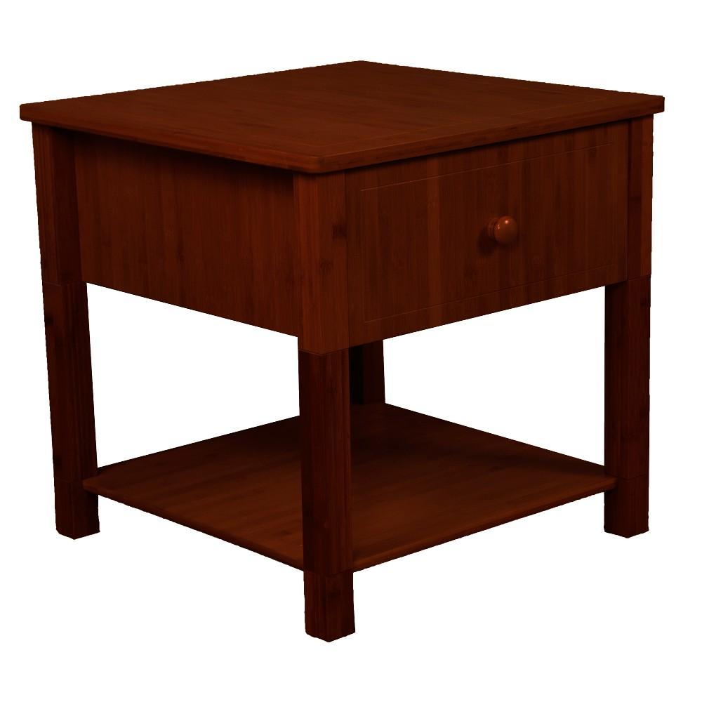 22 Gibraltar Solid Bamboo Wood Square Nightstand - Epic Furnishings, Mahogany Finish