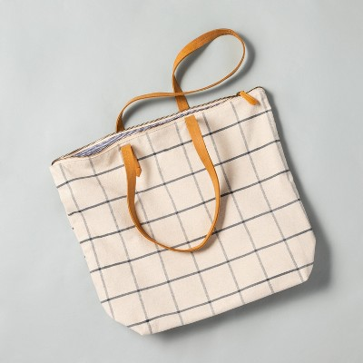 Windowpane Plaid Canvas Zip Tote Bag - Hearth & Hand™ with Magnolia