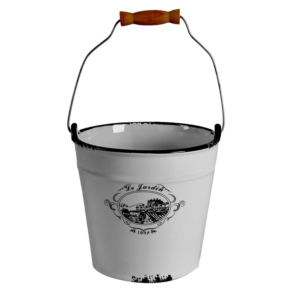 Image of Antiqued Ceramic Decorative Bucket - 6