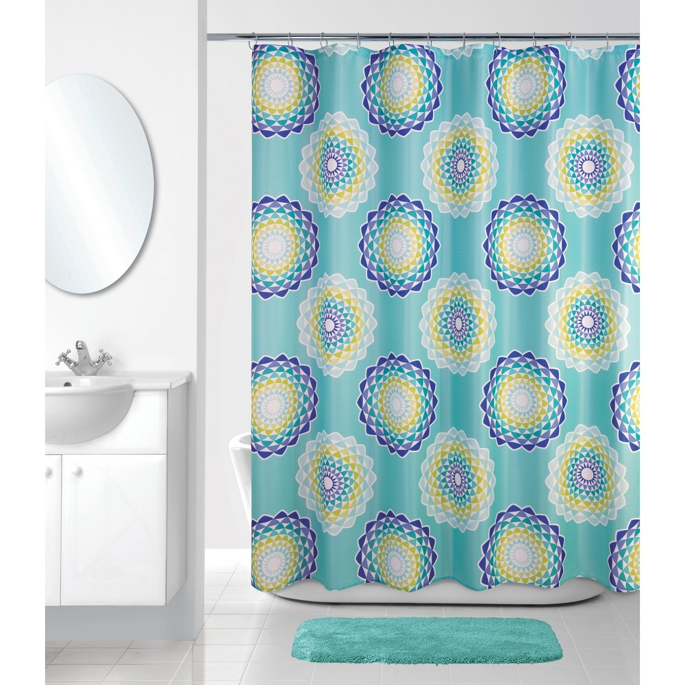 Image of Atomic Circle Shower Curtain Mint Green - Allure Home Creation