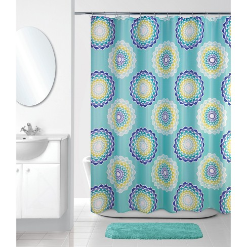 Atomic Circle Shower Curtain Mint Green