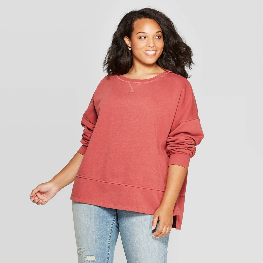 Women's Plus Size Fleece Tunic Pullover Sweatshirt - Universal Thread Rose 1X, Pink was $24.99 now $17.49 (30.0% off)