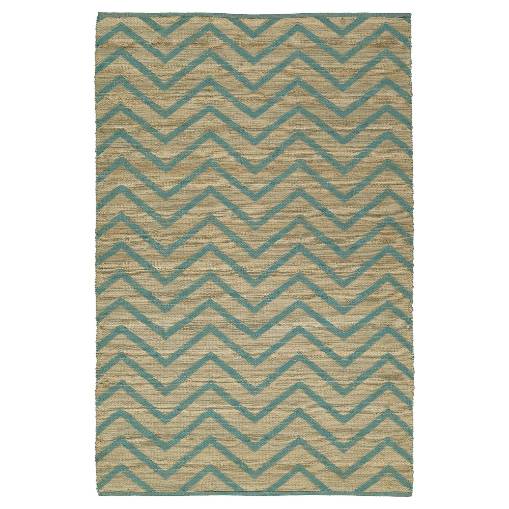 Blue Chevron Loomed Accent Rug 3'6