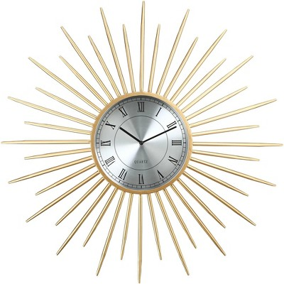 "River Parks Studio Castallia Gold 28"" Round Metal Wall Clock"
