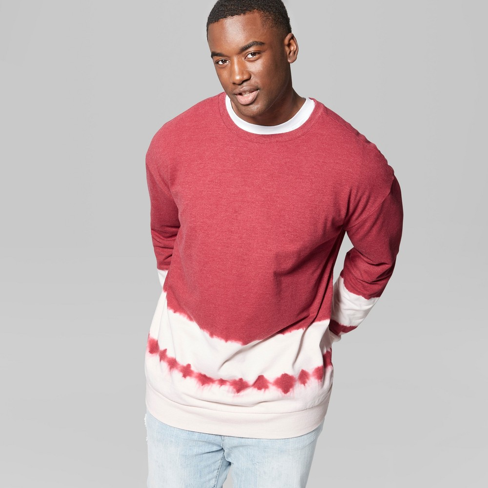 Men's Big & Tall Tie Dye Regular Fit Long Sleeve French Terry Pullover Sweatshirt - Original Use Radish 4XB