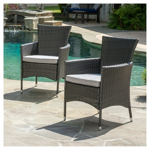 Malta Set of 2 Wicker Patio Dining Chair with Cushions - Gray - Christopher Knight Home : Target