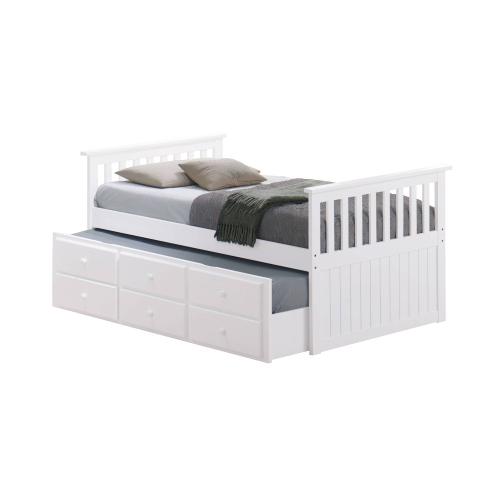 Image of Lagoon Captain's Twin and Full Beds with Trundle White - Broyhill Kids
